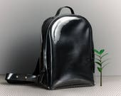 City backpack Leather rucksack Black leather backpack Minimalist urban backpack Leather bag for women Clear backpack Ladies backpack