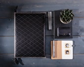 Macbook pro 15 sleeve Leather Macbook case Felt laptop 15 inch sleeve Leather Macbook pro bag Black quilted leather handbag