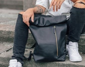 Rolltop backpack City rucksack Black leather backpack Genuine leather city bag Urban style black backpack Ladies backpack Roll top backpack