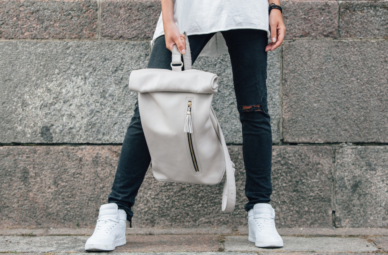 Leather backpack genuine leather rucksack handmade leather bag ... a7d8585283a41