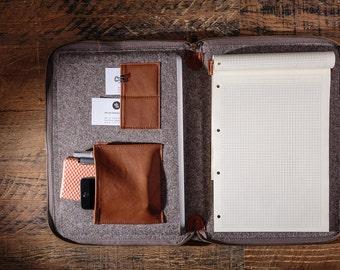 Genuine leather case - portfolio for document and laptop / Natural wool felt document briefcase, handbag folio