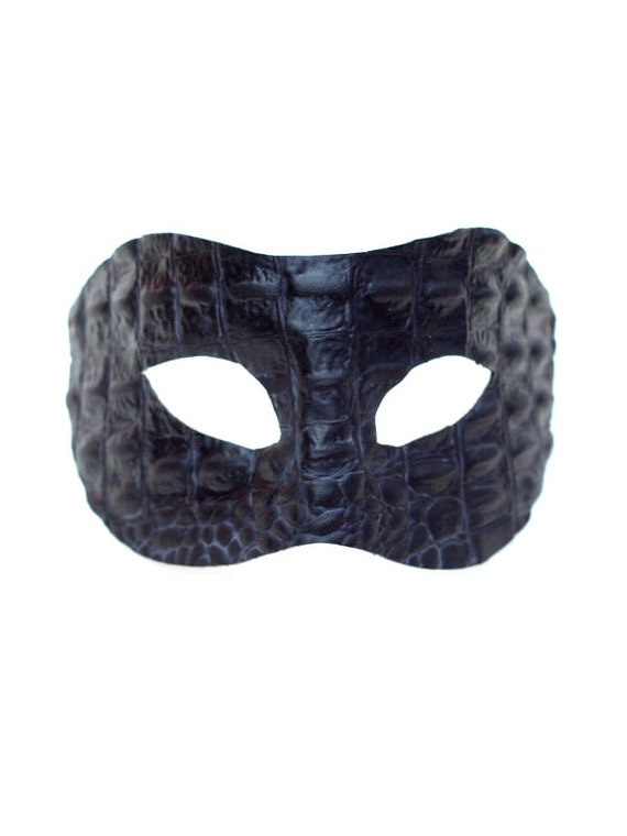 Men/'s Deep Black Leather Erotic Fetish Venetian Masquerade Mask