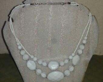 Beautiful white mix beaded necklace.
