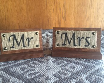Mr. and Mrs. Wedding Table Signs