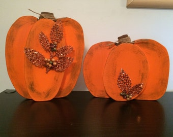 Set of 2 Pumpkin Decorations with Special Accents