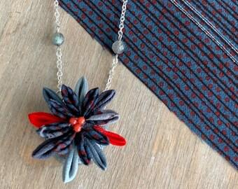 Vintage Silk Kimono Fabric Gray and Red Color Small Kanzashi Flower Necklace- Jewelry Tsumamizaiku Pendant for women girls