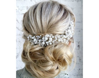 Pearl Bridal Headpiece, Pearl Bridal Hair Comb, Bridal hair piece, Wedding headpiece, Wedding hair comb, Wedding hair piece