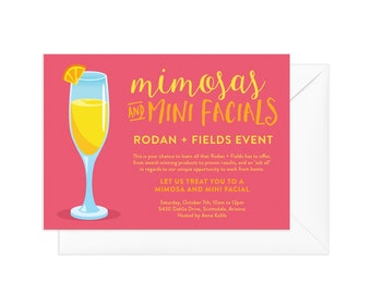 Big Business Launch Invitation, Rodan and Fields Skin Regimens, Rodan and Fields Invitation, Independent Consultant Skincare Party, Mimosa