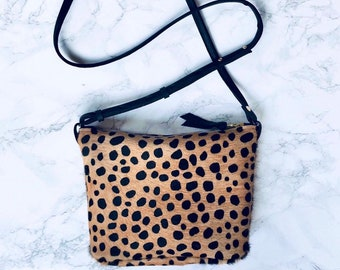 d106877481 OLIVIA-Leopard print cross body bag. Hair-on-hide bag. Leopard handbag.