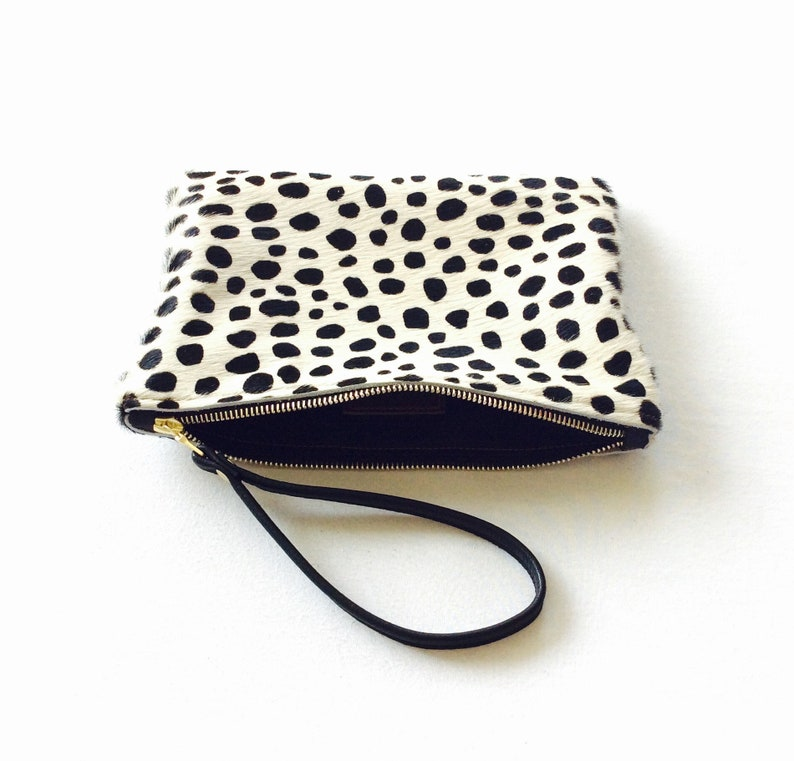 Dotty Real leather clutch. Hair on hide clutch. Real leather image 0