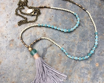 Tassel necklace. Long necklace. Turquoise necklace