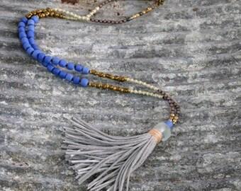 Long tassel necklace. Long beaded  necklace. Long necklace. Boho necklace