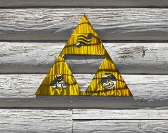 The Legend of Zelda Triforce with Goddess Symbols Metal Art