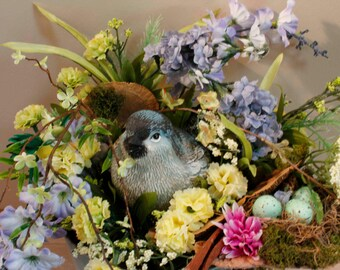 Blue Garden Tin with Bluebird in Nest with Blue Eggs  (Item 237)