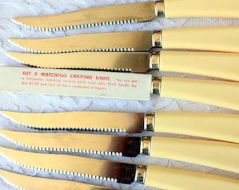 Set of 8 Steak Knives, Shell Oil Promo Knives, Shell Knives, Quikto Knives, Quikkle Knife