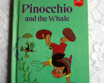 Pinocchio and the Whale Book, Vintage Disney Book, Vintage Pinocchio Book,