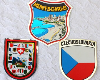 Travel Sticker, Czechoslovakia sticker, Monte Carlo Sticker, Switzerland sticker, Czechoslovakia souvenir, Monaco souvenir,