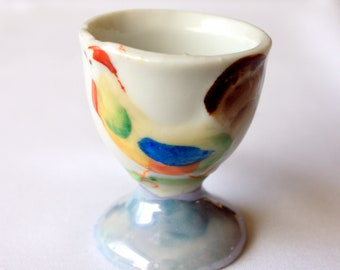 Vintage Egg Cup with Hand Painted Chicken, made in Japan,  Rooster Egg Cup,