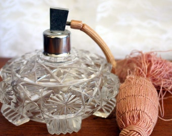 Vintage Czech Cut Glass Perfume Decanter, Vintage Perfume Bottle, Vintage Cut Glass Perfume Atomizer,