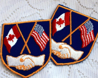 Collectible Emblem, Canada USA Flags Emblem, Canada USA Handshake
