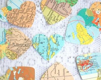 Set of 400 Map Hearts - Map Confetti - Set of 400 Atlas Hearts - Map Table Scatters, Travel Wedding, Atlas confetti  map and atlas ephemera
