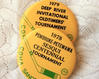 Set of 2 OldTimers Hockey Pinback, Vintage Hockey Tournament, Seniors Hockey