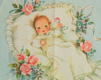Vintage Baby Shower Paper - Baby Gift wrapping paper - vintage babywrapping paper,  vintage baby wrap