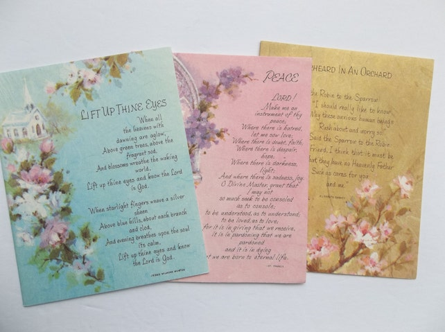 Set of 3  Vintage Note Cards, UNUSED Religious Note cards, Inspirational cards, vintage greeting cards