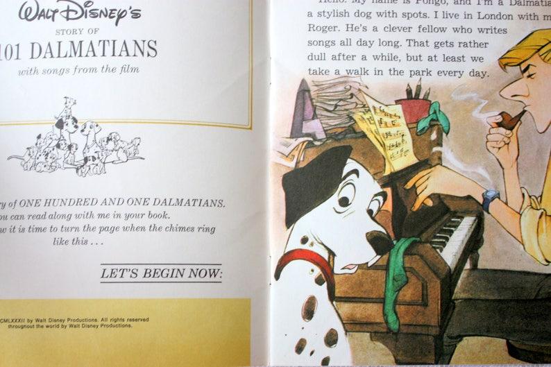 Disney's 101 Dalmatians Read-Along Book, Vintage Disney Read Along Book,  Vintage 101 Dalmatians