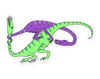Queer Dinosaurs IV sticker Purple/Green version