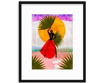 DREAMING WITH MARTINE, Beach, Women of Color, Women Illustration Print, Black Girls, Best Friends, Sisters, Daughters, Wall decor, Magical