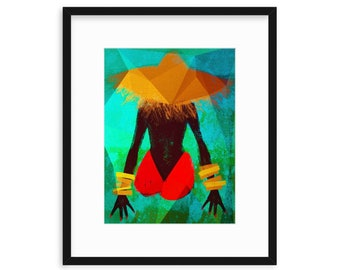 MOOD, Women of Color, Women Illustration Print, Black Girls, Best Friends, Sisters, Daughters, Wall decor, Magical, Woman on Beach