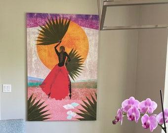 DREAMING WITH MARTINE - Canvas print, Black Girl Wall Art, Women Illustration, Black artist print