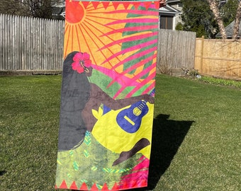 IN THE BEGINNING, 30Wx60L,Beach Towels, Women of Color, Women Illustration, Black Artist