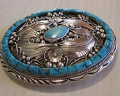 Navajo Sterling Silver and Turquoise Belt Buckle Signed Hale