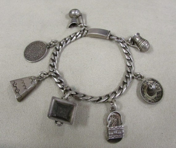 Vintage Sterling Silver Charm Bracelet from Mexico