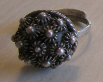 Sterling Silver Adjustable Mexico Ring   Size 4 1/2 Now