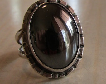 Sterling Silver and Hematite Ring. Size 5 1/2 & Adjustable