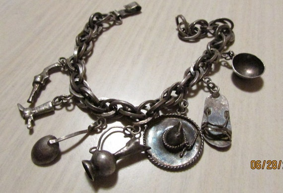 Made in Mexico Sterling Silver Charm Bracelet