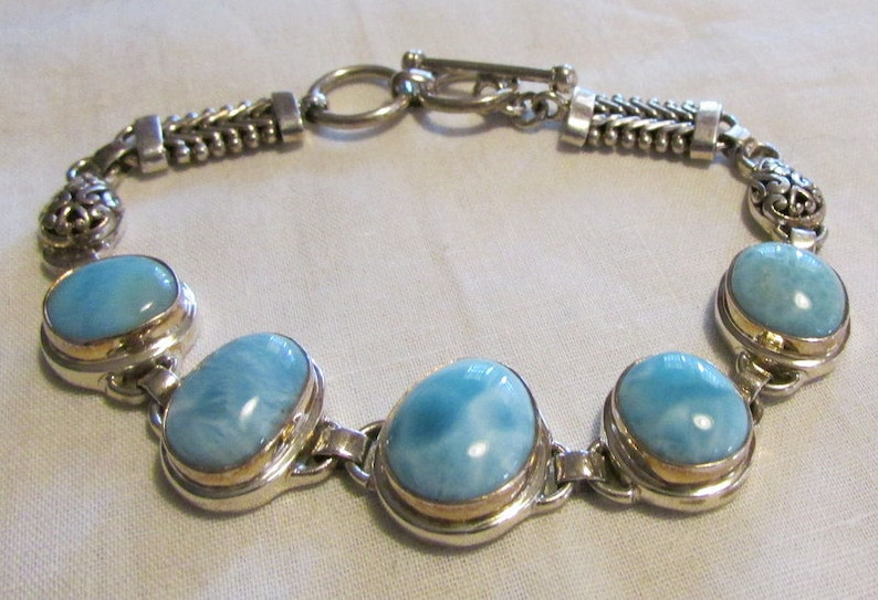 Larimar and Sterling Silver Link Bracelet