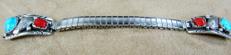 Navajo Sterling Silver Coral and Turquoise Ladies Watchband