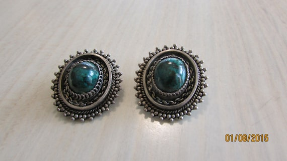 Sterling Silver and Green Stone Clip Earrings