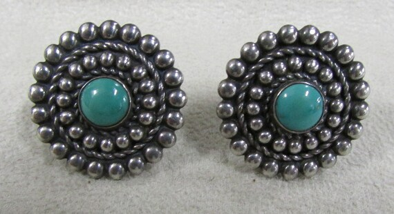 Sterling Silver and Turquoise Screw on Earrings