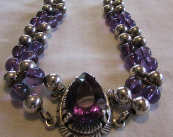 Sterling Silver and Amethyst Bead Bracelet with Center Pendant