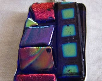 Dichroic Glass and Sterling Silver Pendant