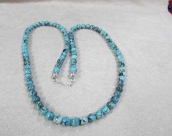 25 Inch Turquoise Necklace made of 7mm Round Beads