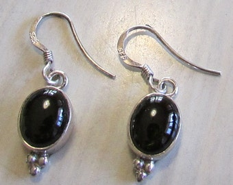 Sterling Silver and Dark Green Cab Earrings