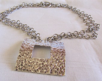 Sterling Silver Square Pendant Necklace with Hammered Look