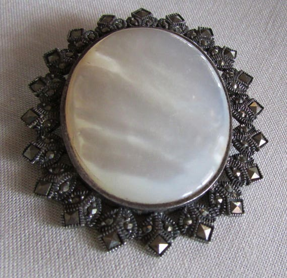 Sterling Silver, Mother of Pearl and Marcasite Pin