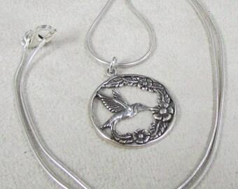 Art Nouveau Sterling Silver HUmmingbird Necklace